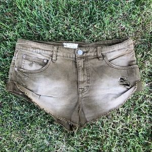 Free People Distressed Booty Shorts